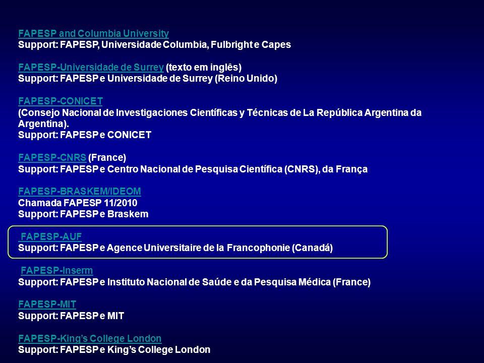 FAPESP and Columbia University Support: FAPESP, Universidade Columbia, Fulbright e Capes FAPESP-Universidade de SurreyFAPESP-Universidade de Surrey (texto em inglês) Support: FAPESP e Universidade de Surrey (Reino Unido) FAPESP-CONICET FAPESP-CONICET (Consejo Nacional de Investigaciones Científicas y Técnicas de La República Argentina da Argentina).