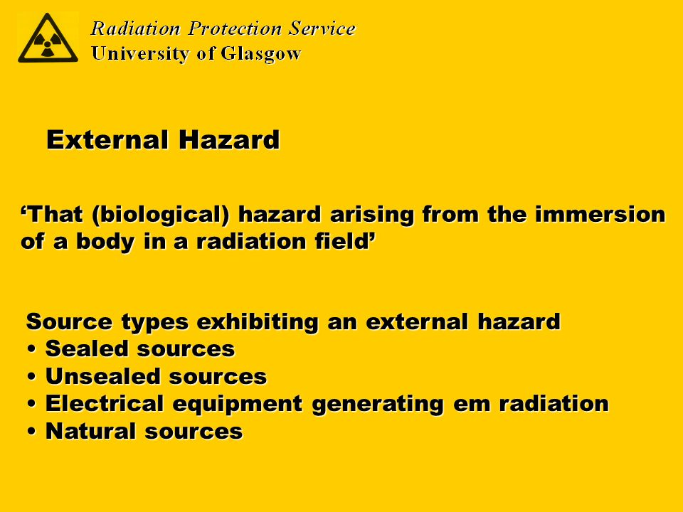 That (biological) hazard arising from the immersion of a body in a radiation field External Hazard Source types exhibiting an external hazard Sealed s