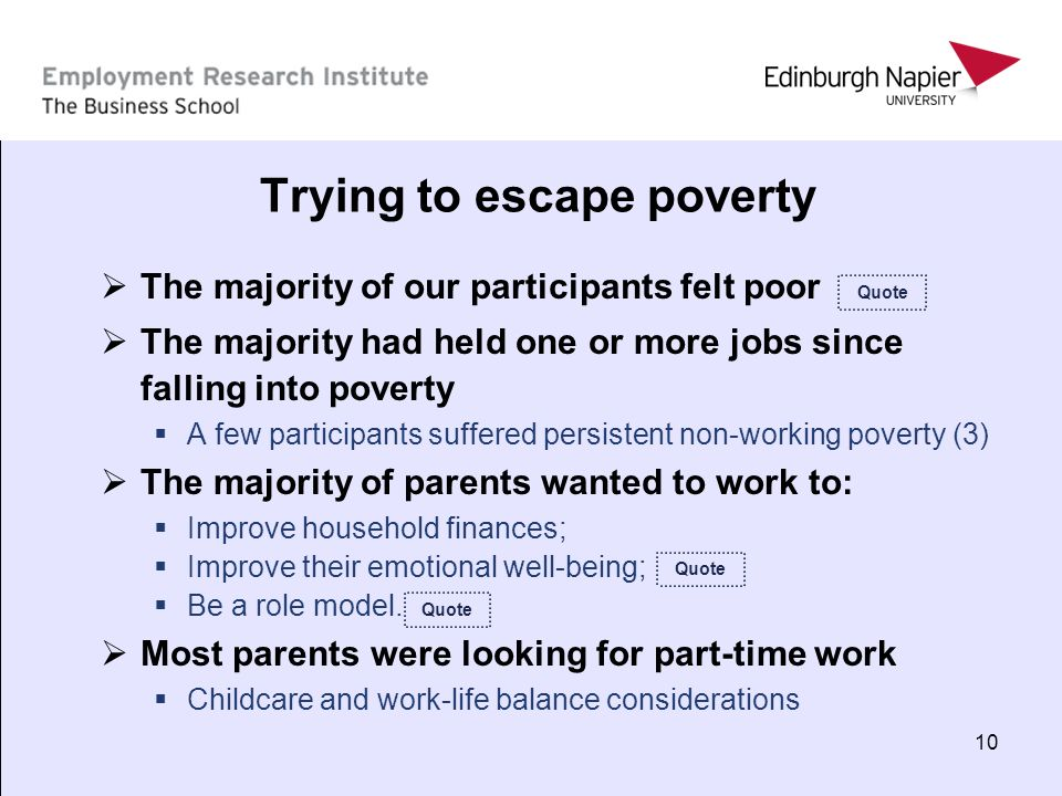 10 Trying to escape poverty The majority of our participants felt poor The majority had held one or more jobs since falling into poverty A few partici