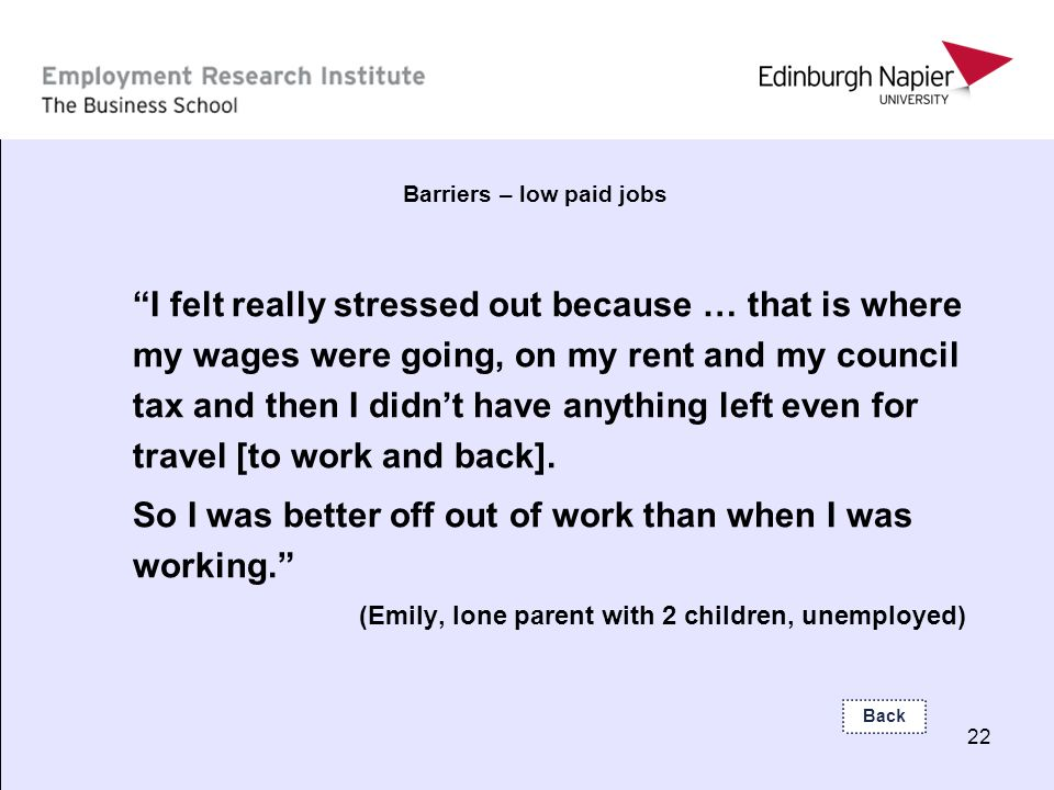 22 Barriers – low paid jobs I felt really stressed out because … that is where my wages were going, on my rent and my council tax and then I didnt hav