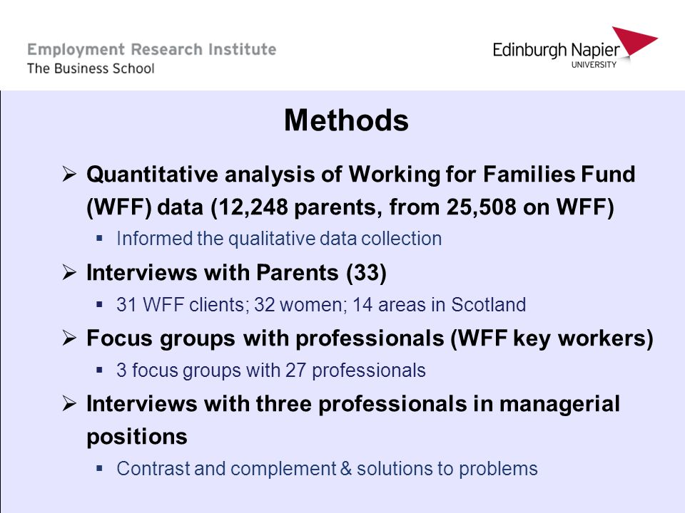 5 Methods Quantitative analysis of Working for Families Fund (WFF) data (12,248 parents, from 25,508 on WFF) Informed the qualitative data collection