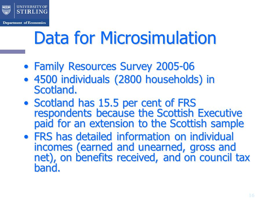 Department of Economics 16 Data for Microsimulation Family Resources Survey 2005-06Family Resources Survey 2005-06 4500 individuals (2800 households)