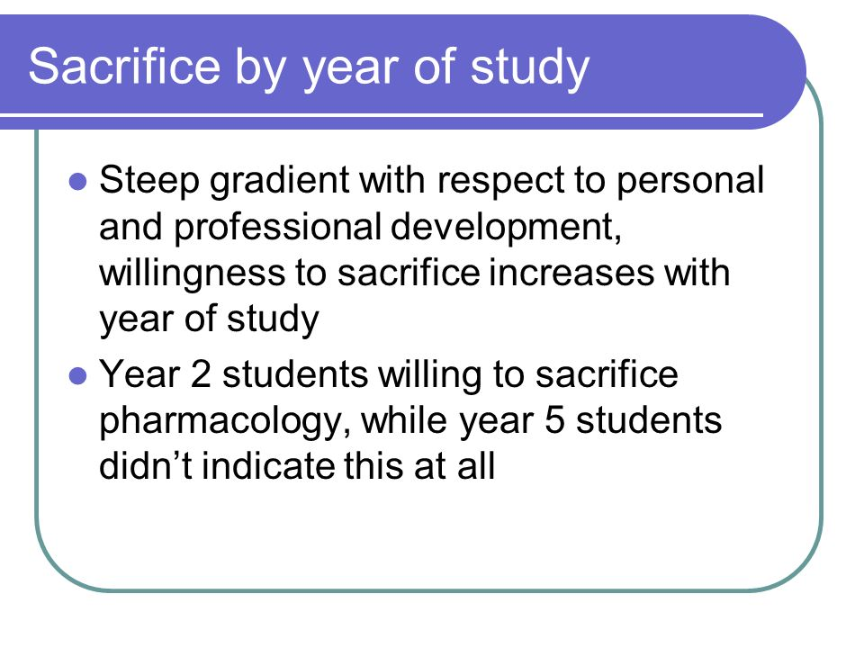 Sacrifice by year of study Steep gradient with respect to personal and professional development, willingness to sacrifice increases with year of study Year 2 students willing to sacrifice pharmacology, while year 5 students didnt indicate this at all