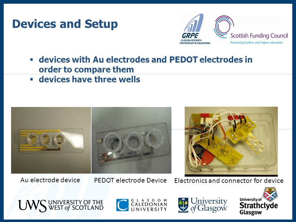 devices with Au electrodes and PEDOT electrodes in order to compare them devices have three wells Devices and Setup Au electrode device PEDOT electrod