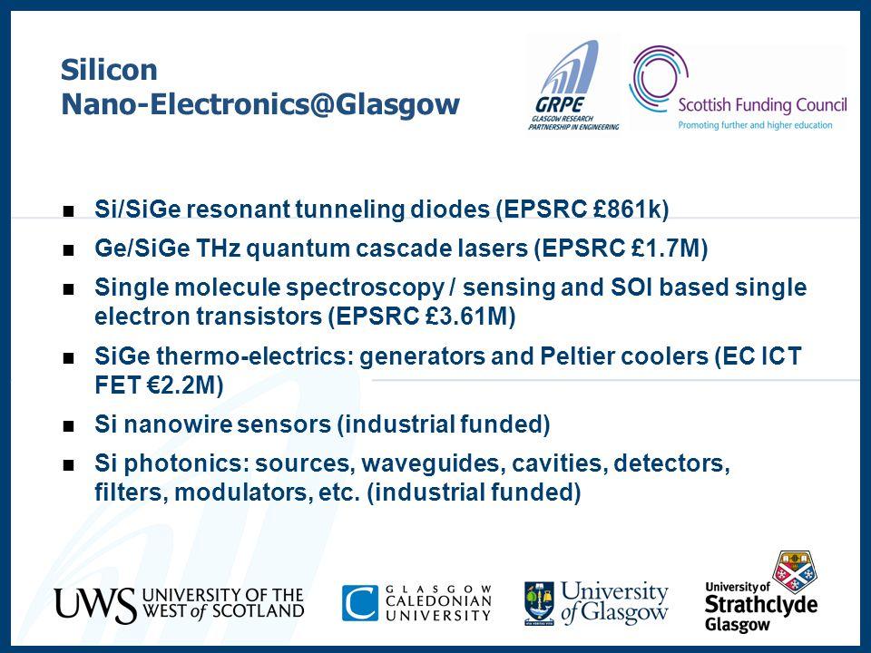 Silicon Nano-Electronics@Glasgow Si/SiGe resonant tunneling diodes (EPSRC £861k) Ge/SiGe THz quantum cascade lasers (EPSRC £1.7M) Single molecule spec