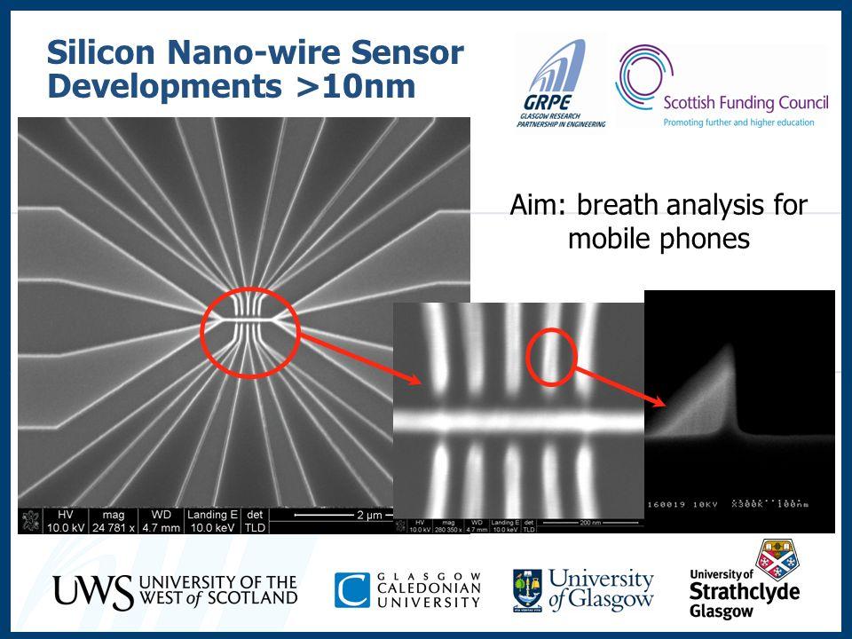 Silicon Nano-wire Sensor Developments >10nm Aim: breath analysis for mobile phones