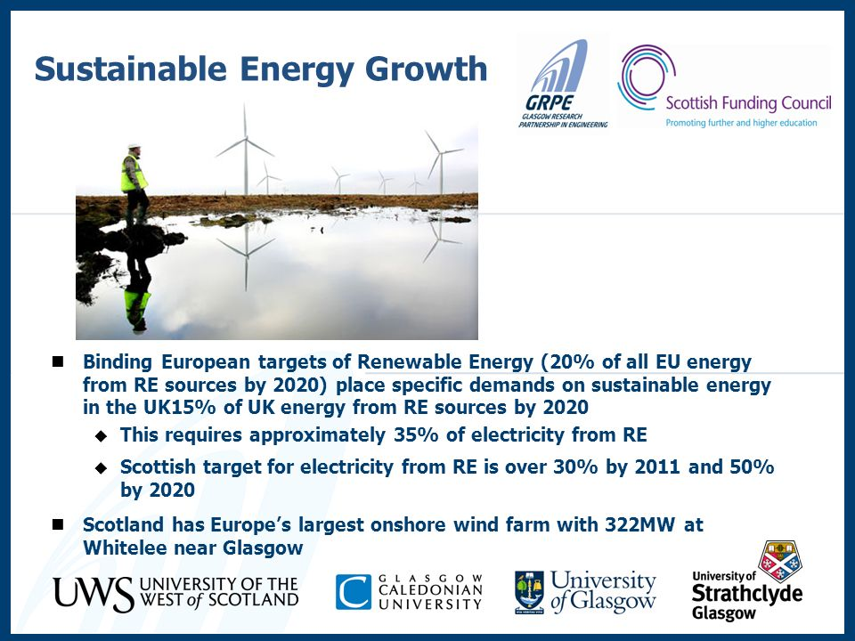 Binding European targets of Renewable Energy (20% of all EU energy from RE sources by 2020) place specific demands on sustainable energy in the UK15%