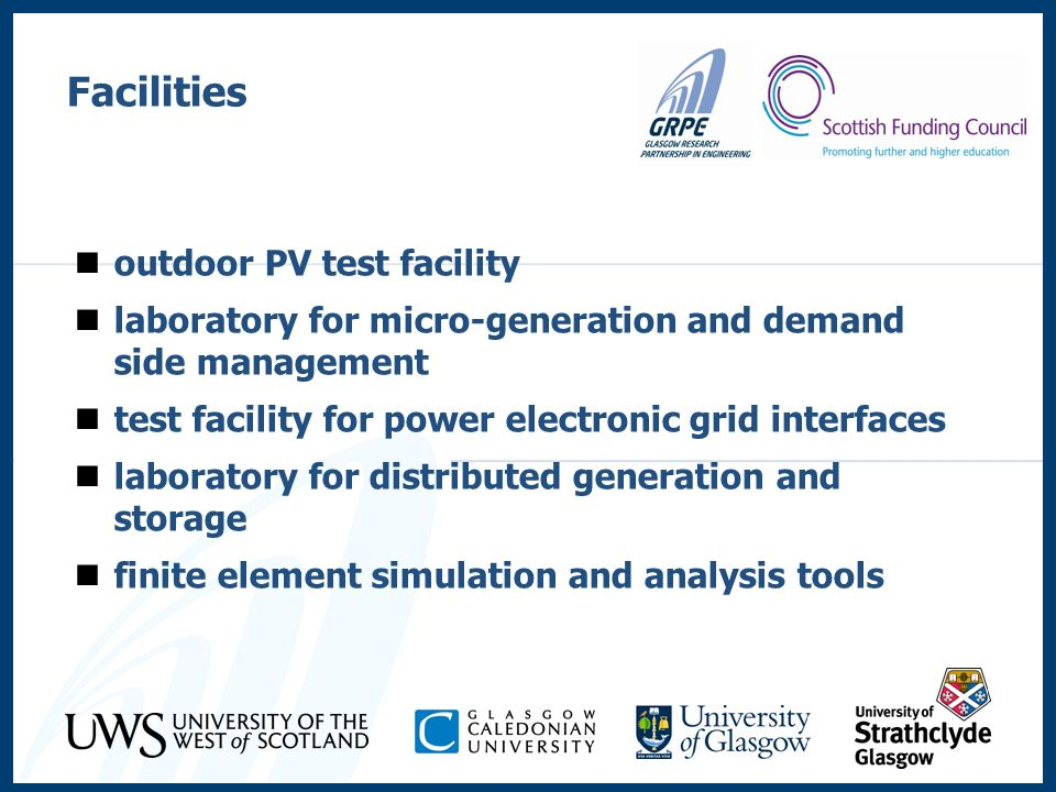 outdoor PV test facility laboratory for micro-generation and demand side management test facility for power electronic grid interfaces laboratory for