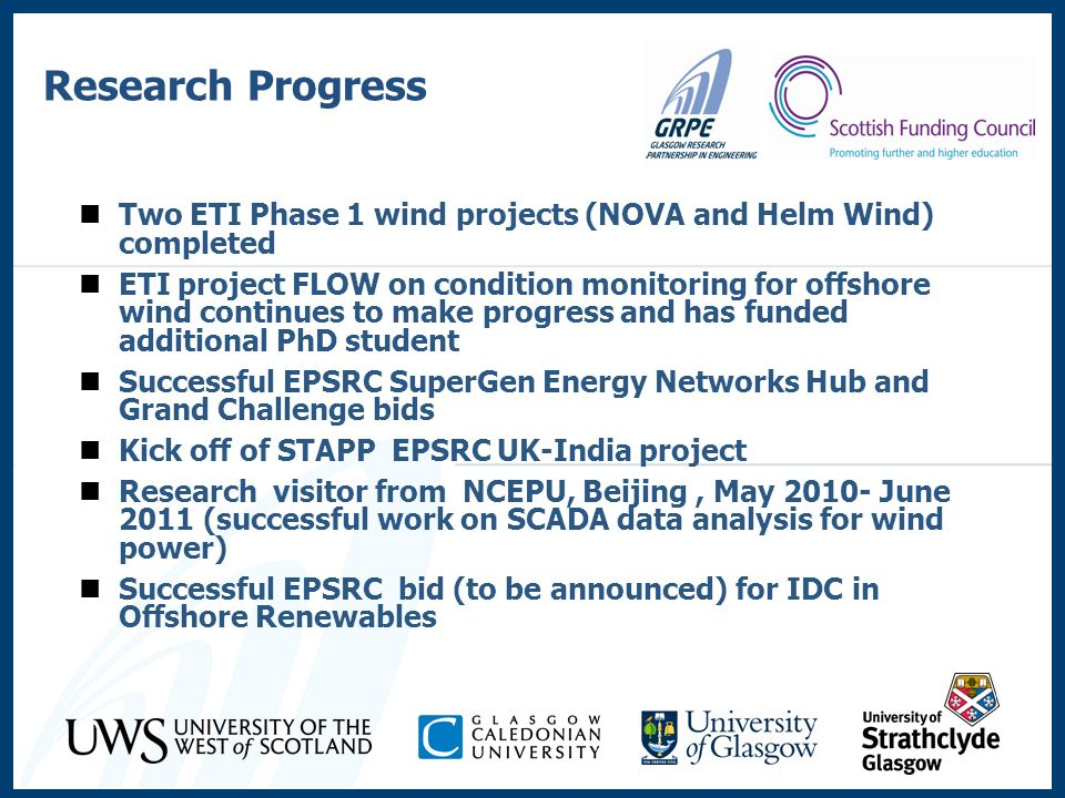 Research Progress Two ETI Phase 1 wind projects (NOVA and Helm Wind) completed ETI project FLOW on condition monitoring for offshore wind continues to
