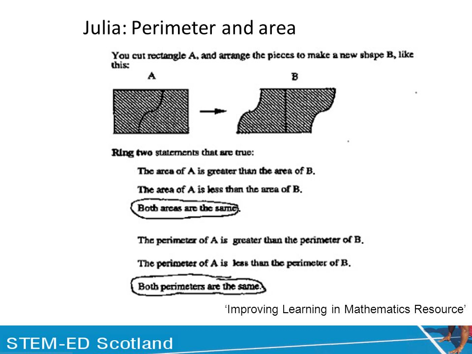 Julia: Perimeter and area Improving Learning in Mathematics Resource