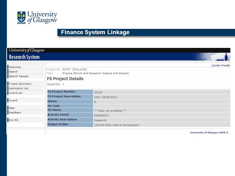 Finance System Linkage
