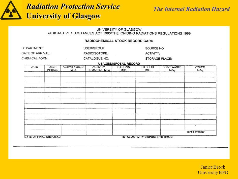 Radiation Protection Service University of Glasgow The Internal Radiation Hazard Janice Brock University RPO