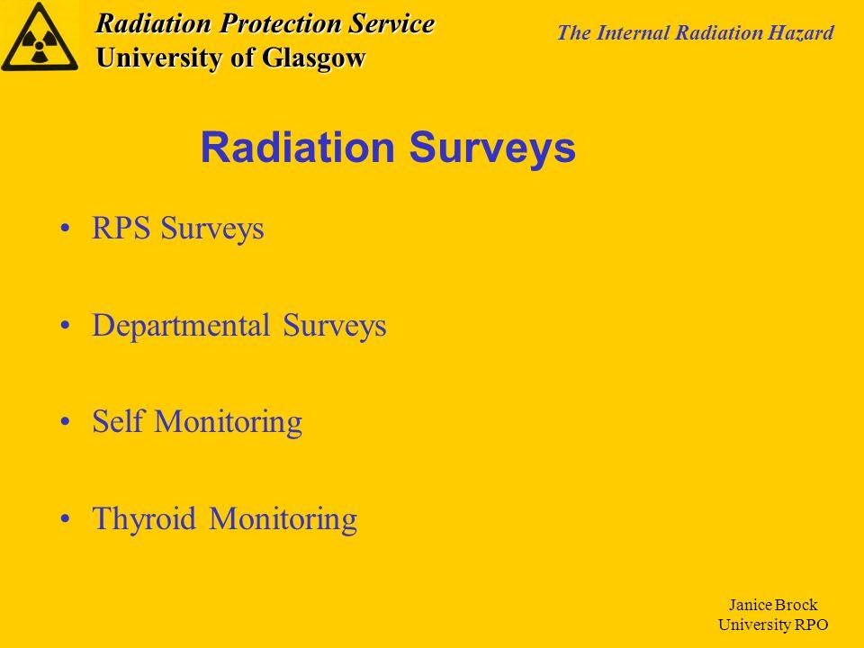 Radiation Protection Service University of Glasgow The Internal Radiation Hazard Janice Brock University RPO RPS Surveys Departmental Surveys Self Monitoring Thyroid Monitoring Radiation Surveys