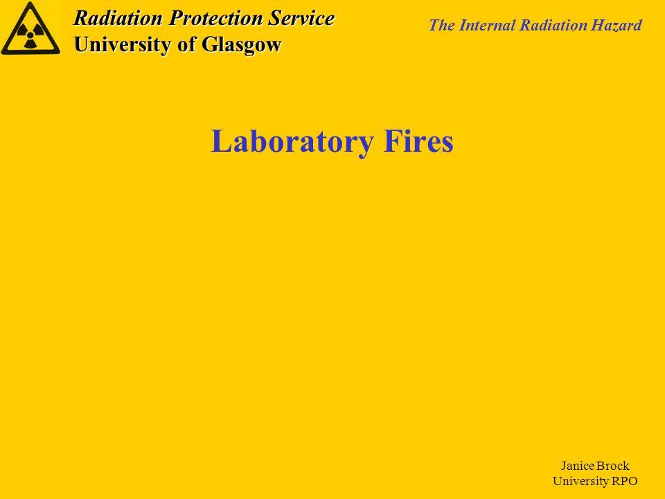Radiation Protection Service University of Glasgow The Internal Radiation Hazard Janice Brock University RPO Laboratory Fires