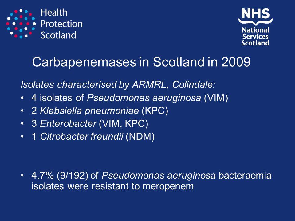Carbapenemases in Scotland in 2009 Isolates characterised by ARMRL, Colindale: 4 isolates of Pseudomonas aeruginosa (VIM) 2 Klebsiella pneumoniae (KPC