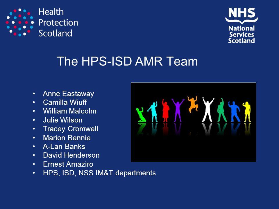 The HPS-ISD AMR Team Anne Eastaway Camilla Wiuff William Malcolm Julie Wilson Tracey Cromwell Marion Bennie A-Lan Banks David Henderson Ernest Amaziro
