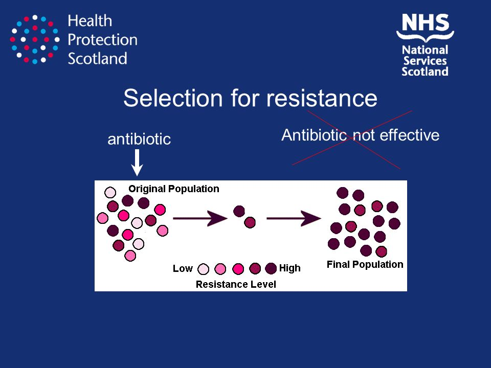 Selection for resistance antibiotic Antibiotic not effective