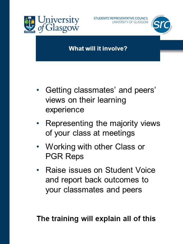 What will it involve? Getting classmates and peers views on their learning experience Representing the majority views of your class at meetings Workin