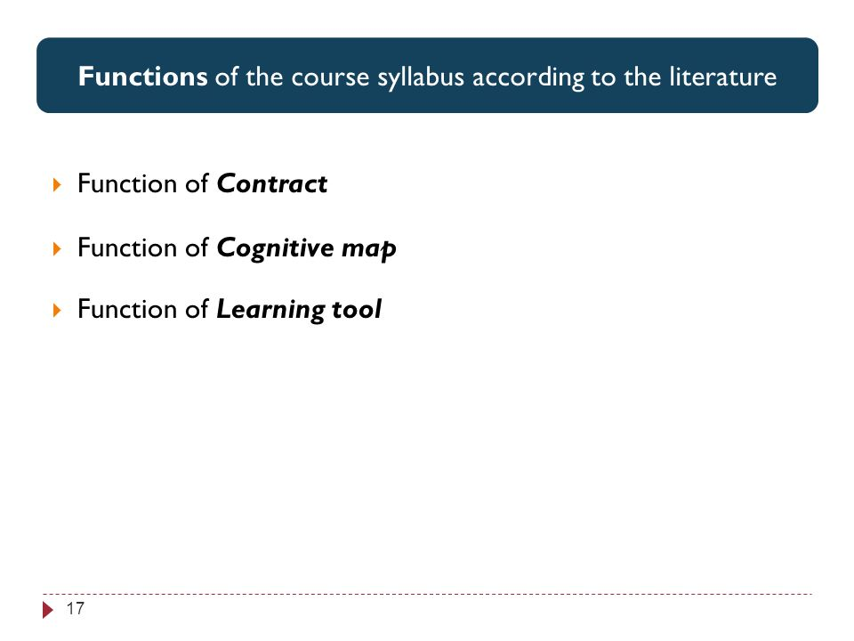 Perspectives associées par les étudiants aux 3 items jugés les plus utiles 17 Functions of the course syllabus according to the literature Function of Contract Function of Cognitive map Function of Learning tool