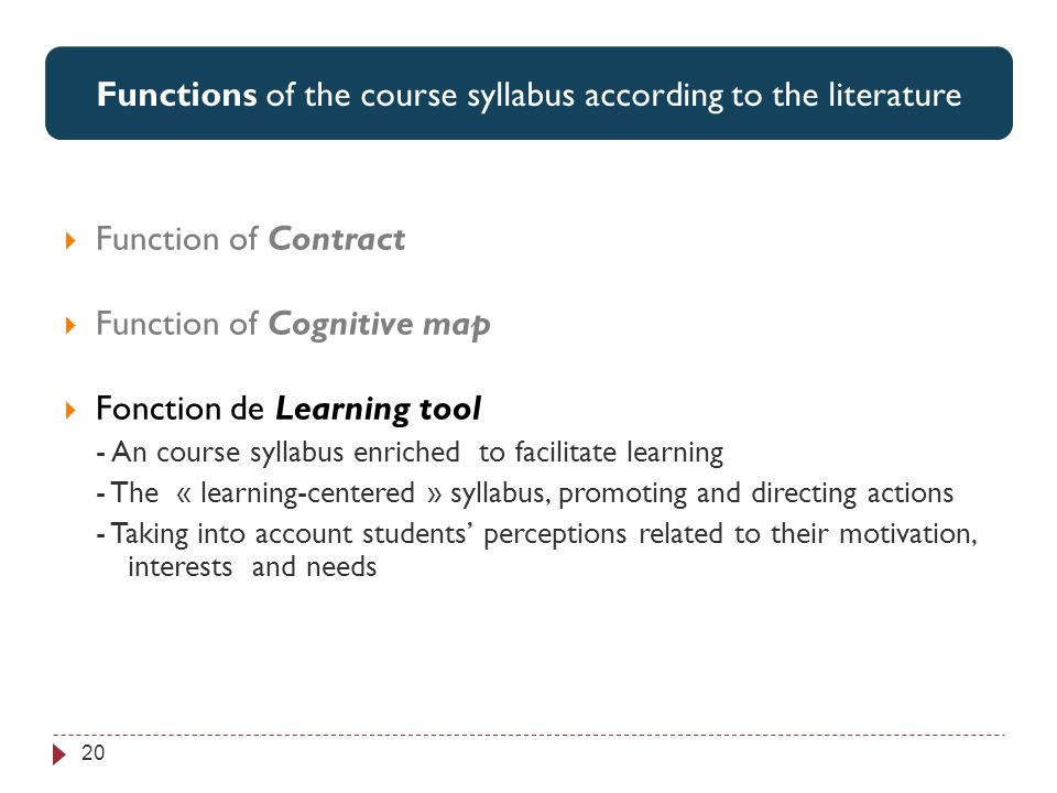 Perspectives associées par les étudiants aux 3 items jugés les plus utiles 20 Functions of the course syllabus according to the literature Function of Contract Function of Cognitive map Fonction de Learning tool - An course syllabus enriched to facilitate learning - The « learning-centered » syllabus, promoting and directing actions - Taking into account students perceptions related to their motivation, interests and needs