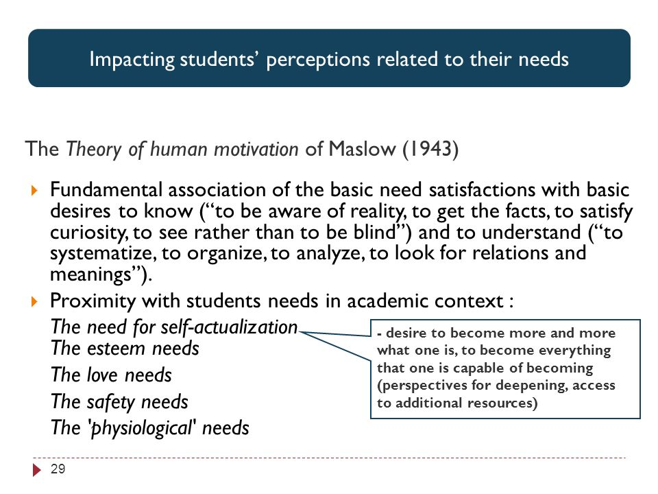 Perspectives associées par les étudiants aux 3 items jugés les plus utiles 29 Impacting students perceptions related to their needs The Theory of human motivation of Maslow (1943) Fundamental association of the basic need satisfactions with basic desires to know (to be aware of reality, to get the facts, to satisfy curiosity, to see rather than to be blind) and to understand (to systematize, to organize, to analyze, to look for relations and meanings).