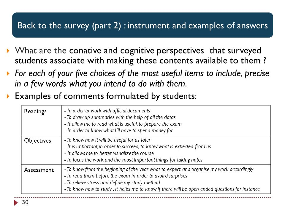 Perspectives associées par les étudiants aux 3 items jugés les plus utiles 30 What are the conative and cognitive perspectives that surveyed students associate with making these contents available to them .