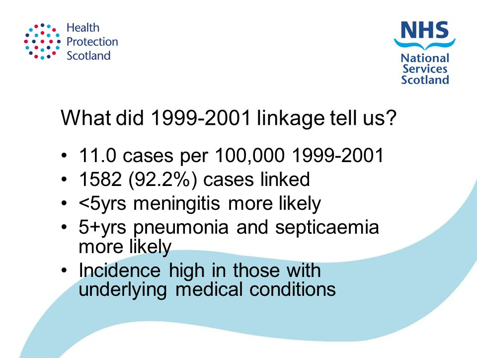 What did 1999-2001 linkage tell us? 11.0 cases per 100,000 1999-2001 1582 (92.2%) cases linked <5yrs meningitis more likely 5+yrs pneumonia and septic