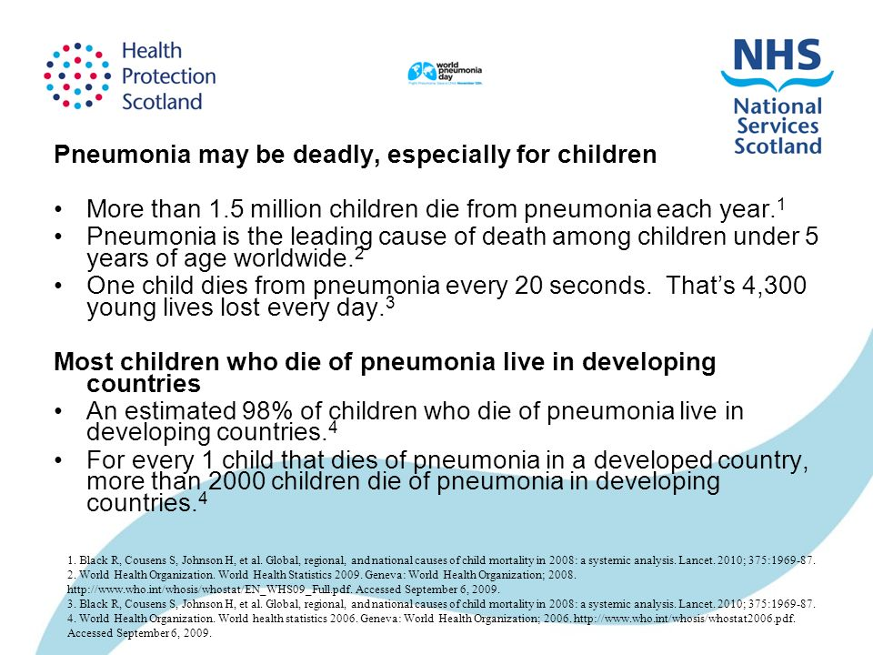 Pneumonia may be deadly, especially for children More than 1.5 million children die from pneumonia each year. 1 Pneumonia is the leading cause of deat