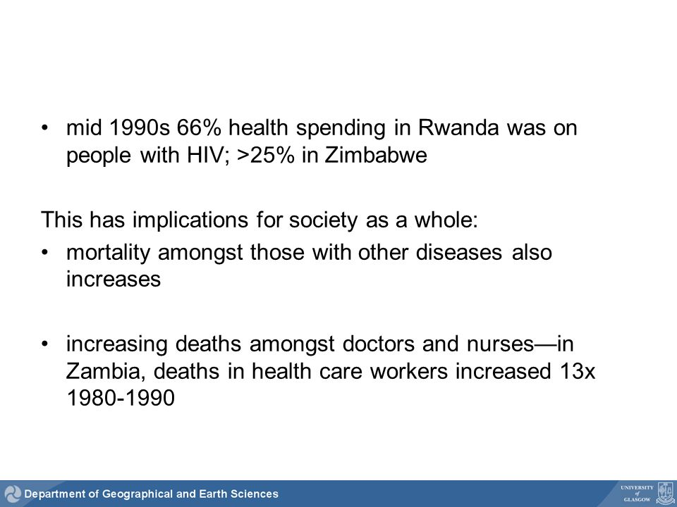 mid 1990s 66% health spending in Rwanda was on people with HIV; >25% in Zimbabwe This has implications for society as a whole: mortality amongst those with other diseases also increases increasing deaths amongst doctors and nursesin Zambia, deaths in health care workers increased 13x 1980-1990