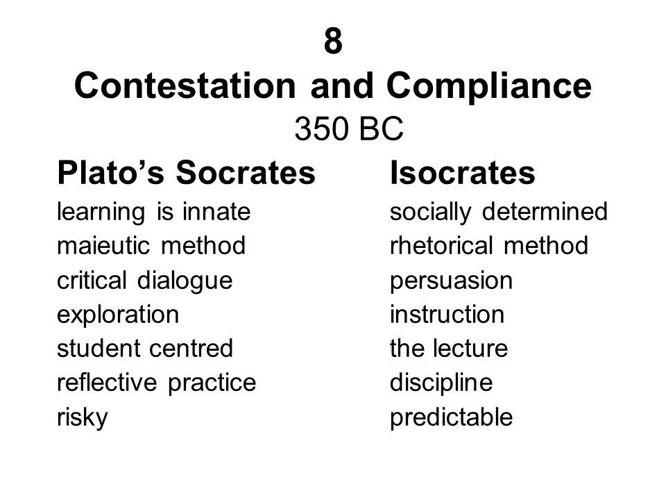 8 Contestation and Compliance 350 BC Platos SocratesIsocrates learning is innatesocially determined maieutic methodrhetorical method critical dialogue