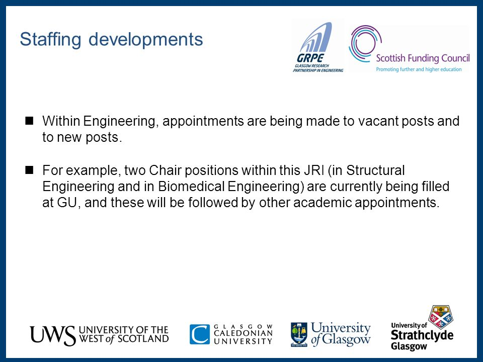 Within Engineering, appointments are being made to vacant posts and to new posts.