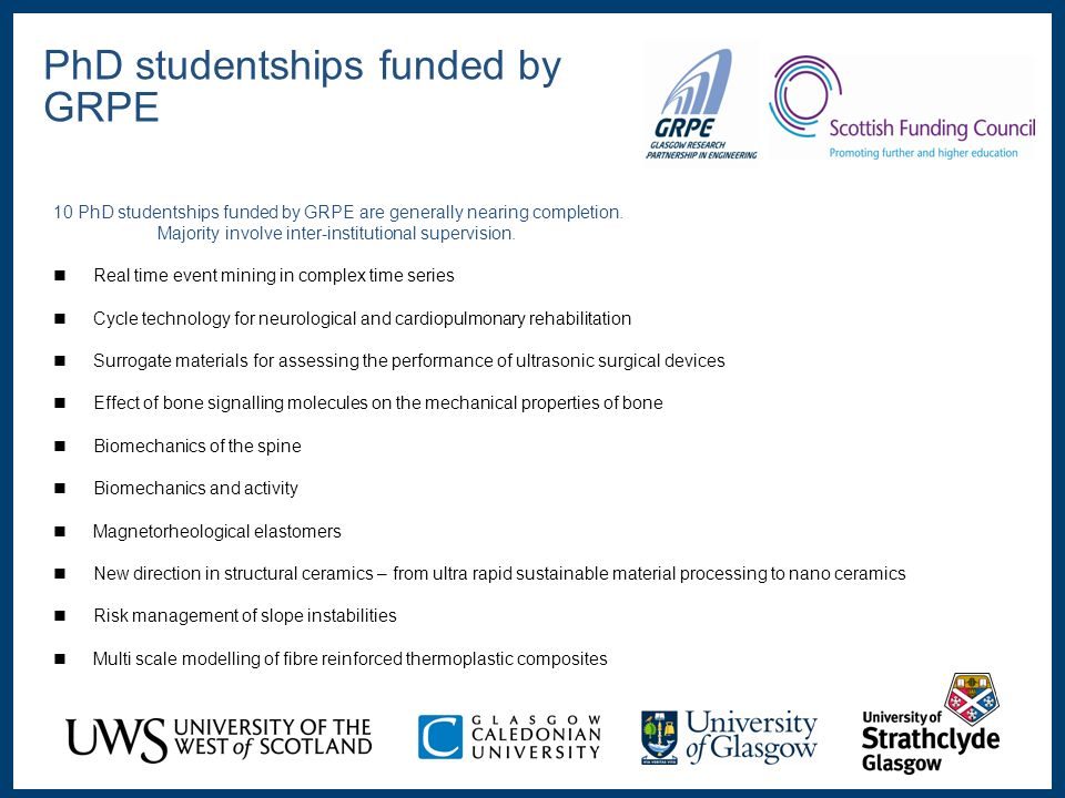 10 PhD studentships funded by GRPE are generally nearing completion.