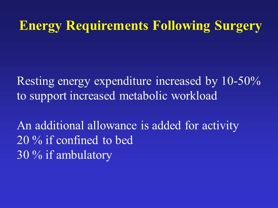 Resting energy expenditure increased by 10-50% to support increased metabolic workload An additional allowance is added for activity 20 % if confined