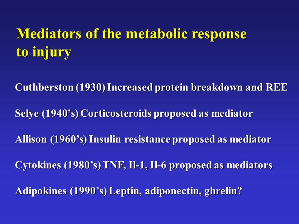 Mediators of the metabolic response to injury Cuthberston (1930) Increased protein breakdown and REE Selye (1940s) Corticosteroids proposed as mediato