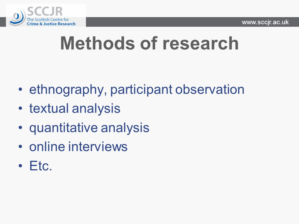 www.sccjr.ac.uk Modes of presentation Electronic version of print journal Online journal (peer or non-peer reviewed) Research websites (ssrn, local institutional) Own website Social networking tools, sites