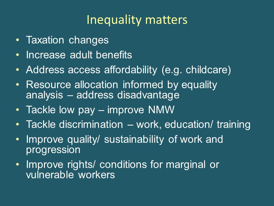 Inequality matters Taxation changes Increase adult benefits Address access affordability (e.g. childcare) Resource allocation informed by equality ana