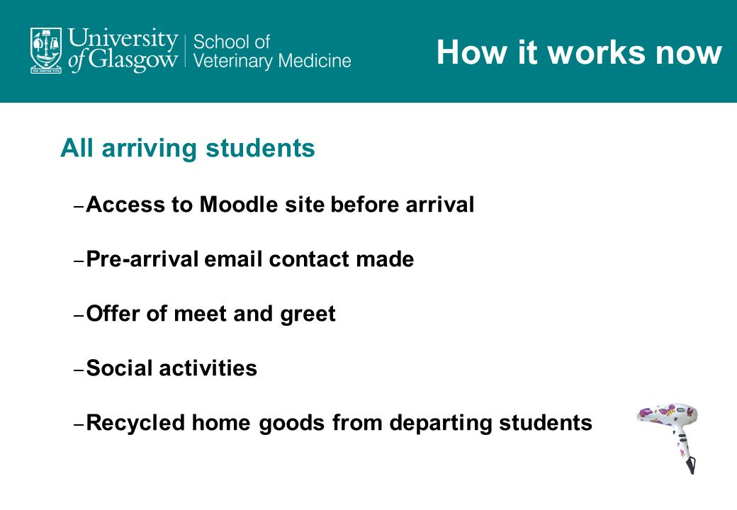 All arriving students – Access to Moodle site before arrival – Pre-arrival email contact made – Offer of meet and greet – Social activities – Recycled home goods from departing students How it works now