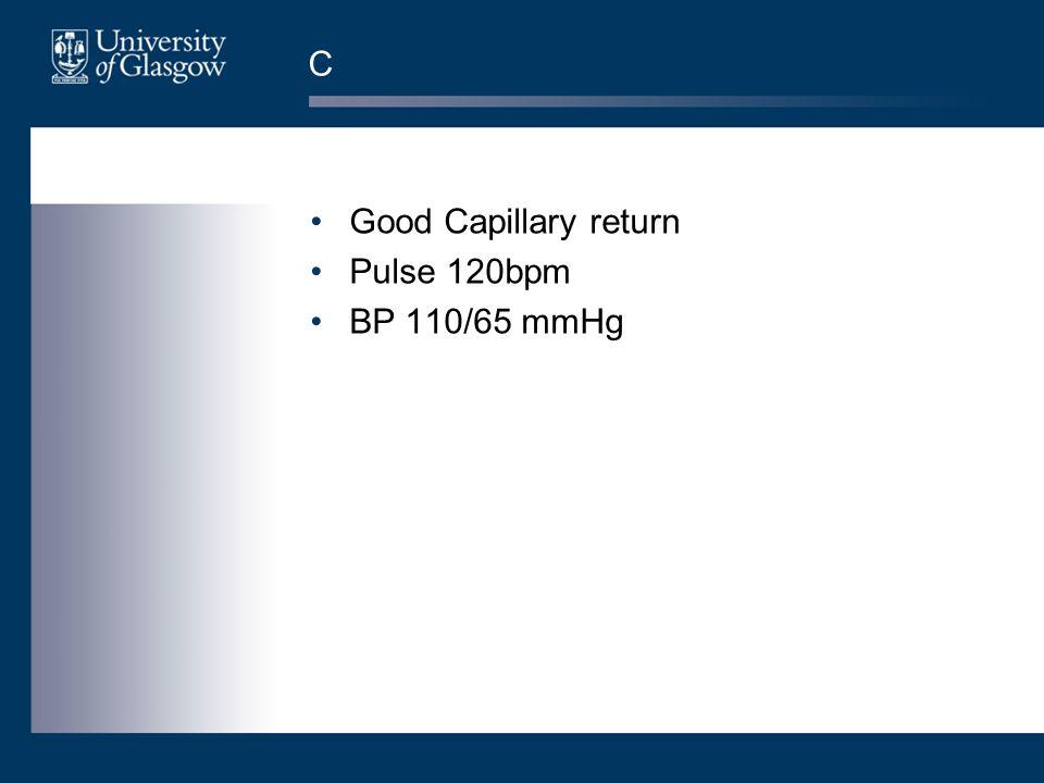 C Good Capillary return Pulse 120bpm BP 110/65 mmHg