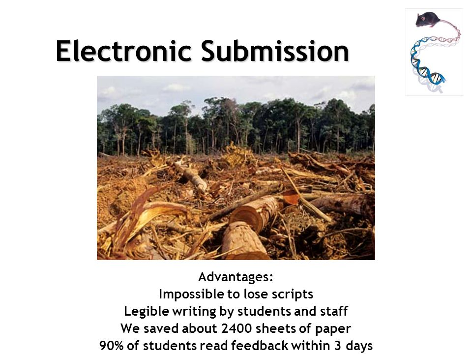 Electronic Submission Advantages: Impossible to lose scripts Legible writing by students and staff We saved about 2400 sheets of paper 90% of students