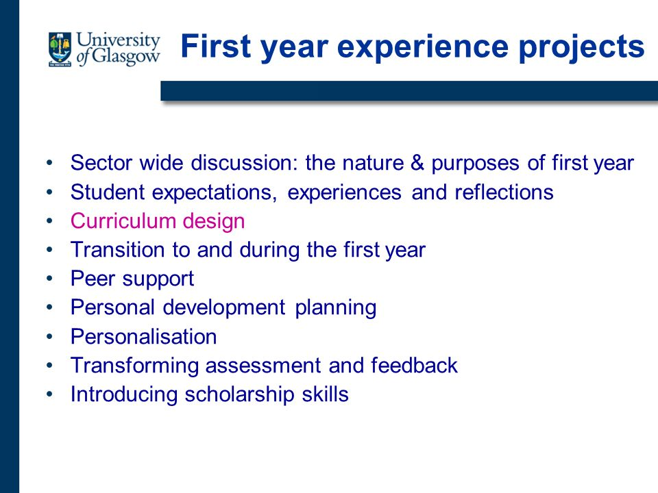 Sector wide discussion: the nature & purposes of first year Student expectations, experiences and reflections Curriculum design Transition to and during the first year Peer support Personal development planning Personalisation Transforming assessment and feedback Introducing scholarship skills First year experience projects