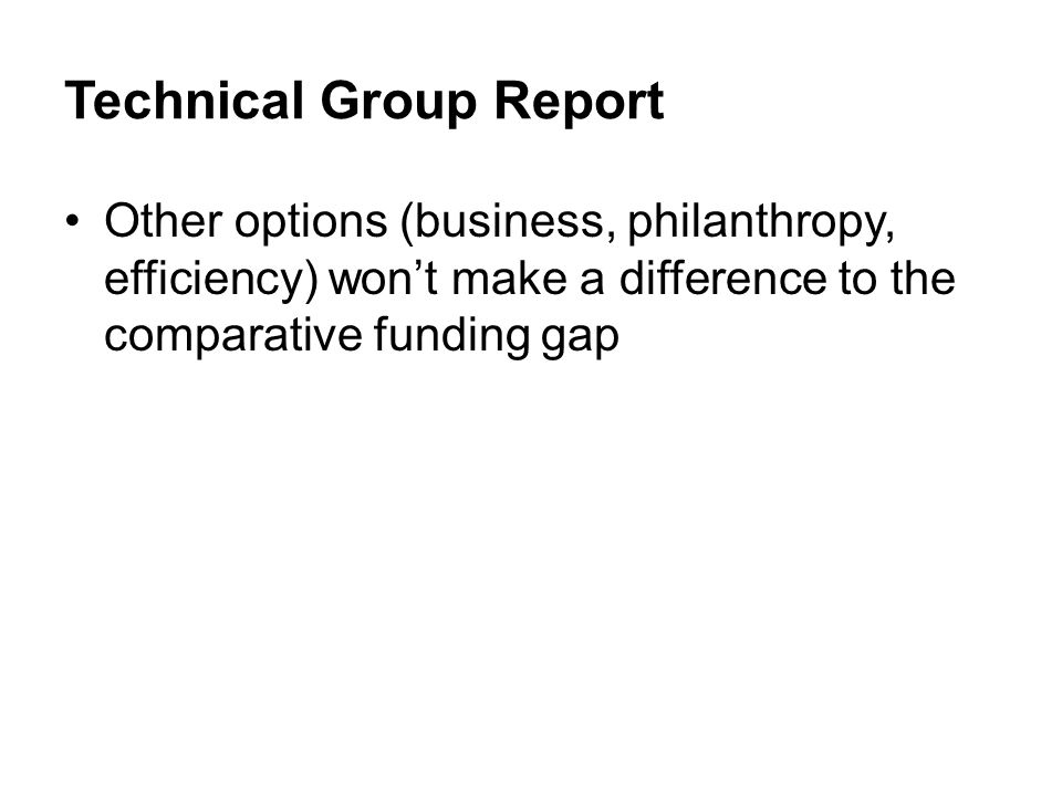 Other options (business, philanthropy, efficiency) wont make a difference to the comparative funding gap
