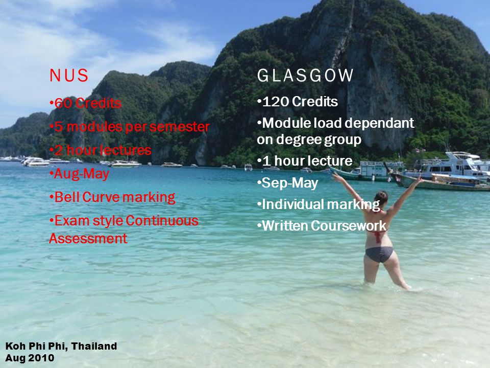 NUS 60 Credits 5 modules per semester 2 hour lectures Aug-May Bell Curve marking Exam style Continuous Assessment GLASGOW 120 Credits Module load dependant on degree group 1 hour lecture Sep-May Individual marking Written Coursework Koh Phi Phi, Thailand Aug 2010