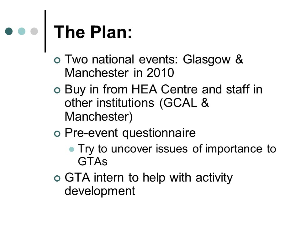 Two national events: Glasgow & Manchester in 2010 Buy in from HEA Centre and staff in other institutions (GCAL & Manchester) Pre-event questionnaire Try to uncover issues of importance to GTAs GTA intern to help with activity development The Plan: