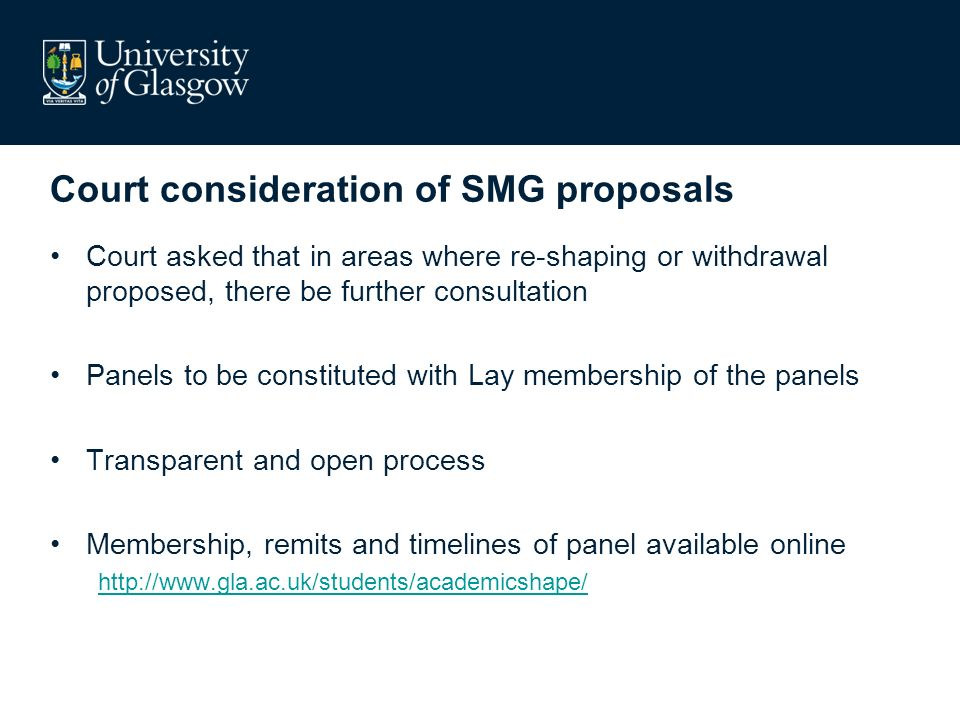 Court consideration of SMG proposals Court asked that in areas where re-shaping or withdrawal proposed, there be further consultation Panels to be constituted with Lay membership of the panels Transparent and open process Membership, remits and timelines of panel available online