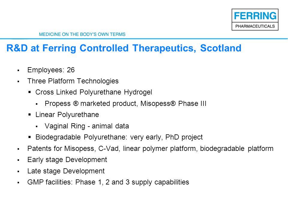 R&D at Ferring Controlled Therapeutics, Scotland Employees: 26 Three Platform Technologies Cross Linked Polyurethane Hydrogel Propess ® marketed produ