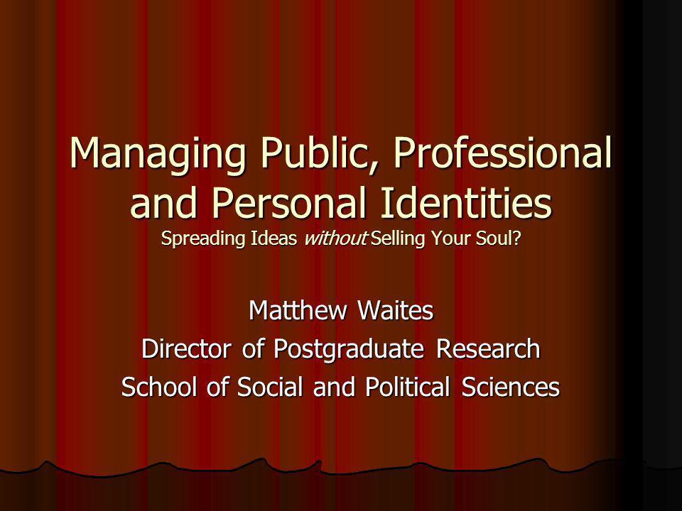 Three dimensions Public identity Public identity Professional identity Professional identity Personal identity Personal identity