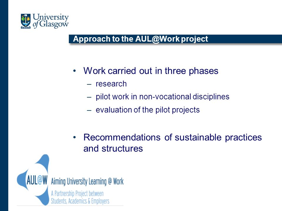 Approach to the AUL@Work project Work carried out in three phases –research –pilot work in non-vocational disciplines –evaluation of the pilot project
