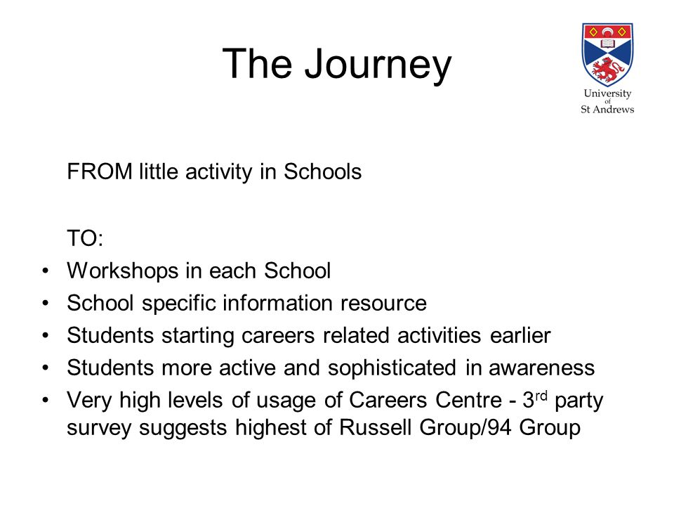 The Journey FROM little activity in Schools TO: Workshops in each School School specific information resource Students starting careers related activities earlier Students more active and sophisticated in awareness Very high levels of usage of Careers Centre - 3 rd party survey suggests highest of Russell Group/94 Group