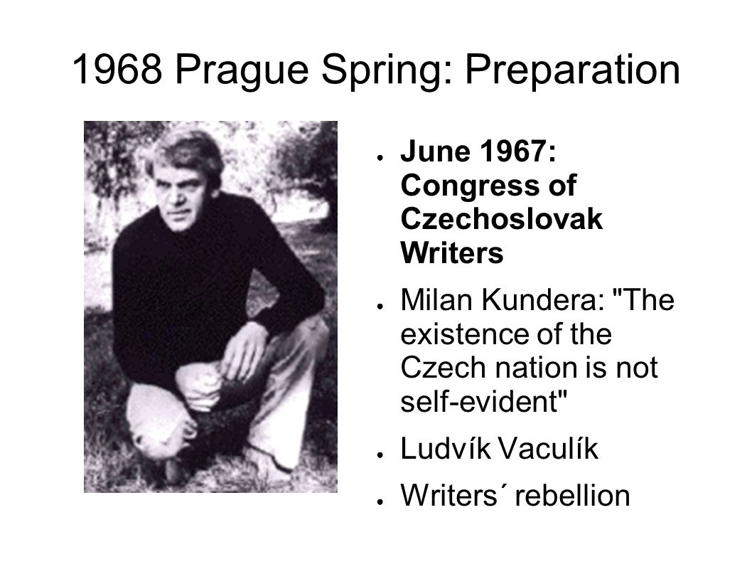 1968 Prague Spring False relief after Bratislava The Brezhnev doctrine: whenever socialism is threatened , the Soviet Army has the duty to intervene Danger of CP congress scheduled for the autumn The autumn would have firmly established the reforms (daily Lidové noviny was planned,etc.)