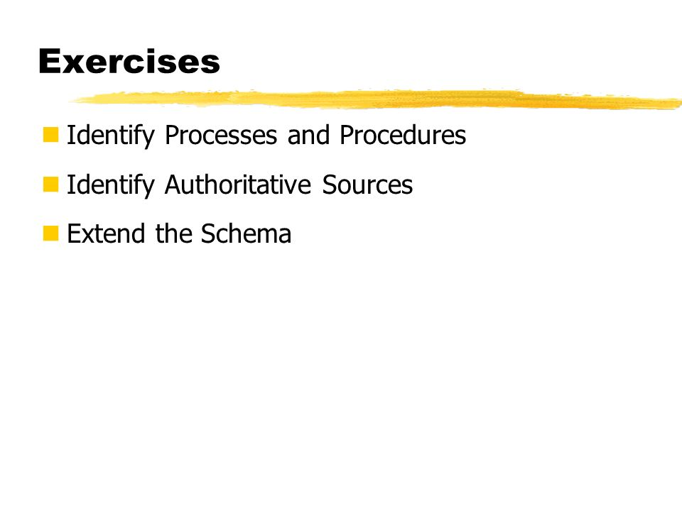 Exercises Identify Processes and Procedures Identify Authoritative Sources Extend the Schema